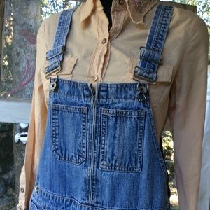 Overall Jeans by Gap Washed Unique zipper front S